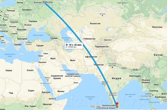 Время перелета Киев — Шри-Ланка