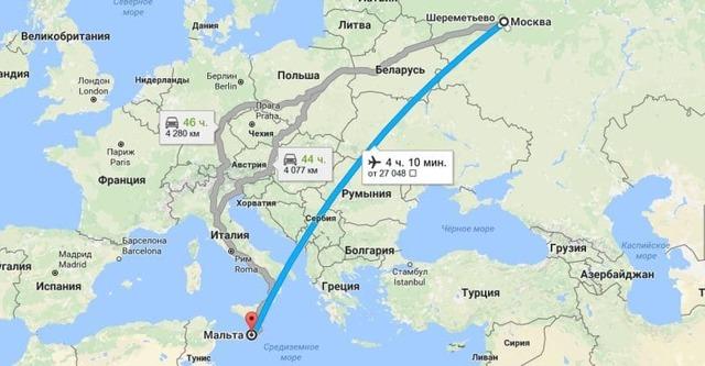 Сколько лететь до Мальты из Москвы прямым рейсом