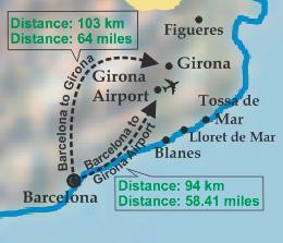 Аэропорт Жирона Барселона на карте