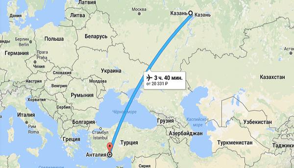 Время полета Казань – Анталия