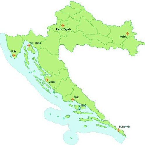 Международные аэропорты Хорватии на карте