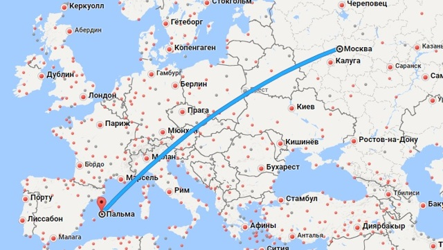 Сколько лететь до Майорки из Москвы и СПБ