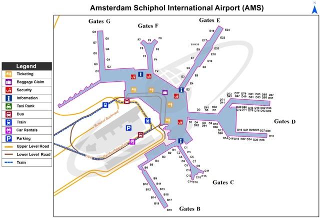Аэропорт Амстердама Схипхол - схема на русском языке
