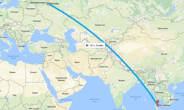 Сколько лететь до Самуи из Москвы прямым рейсом