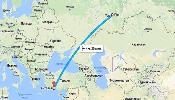 Время полета Уфа - Анталия