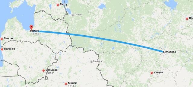 Сколько лететь до Риги из Москвы прямым рейсом