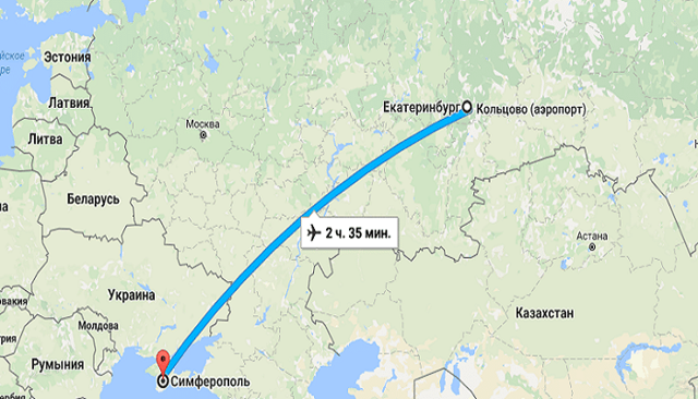 Сколько лететь до Симферополя из Екатеринбурга