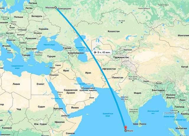 Сколько лететь до Мале из Москвы прямым рейсом