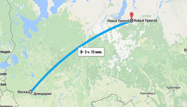 Время полета Москва - Новый Уренгой